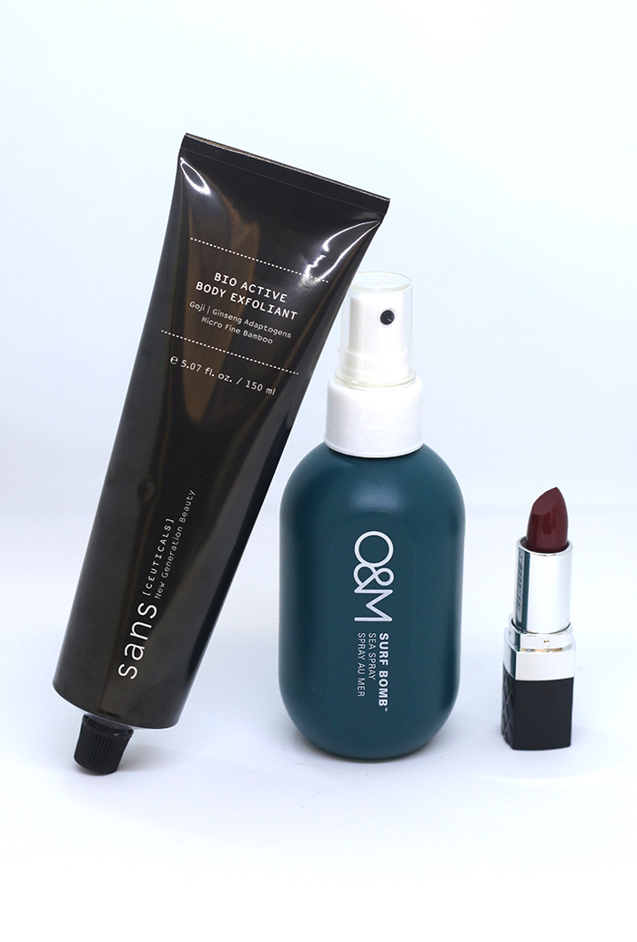 Sans [Ceuticals] Bio Active Exfoliant; Original Mineral Surf Bomb; Bellapierre Lipstick in Cherry Pop