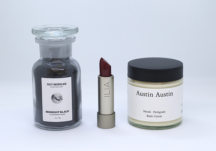 Guy Morgan Midnight Black Mask; Austin Austin Neroli & Petitgrain Body Cream; Ilia Lipstick in Femme Fatale