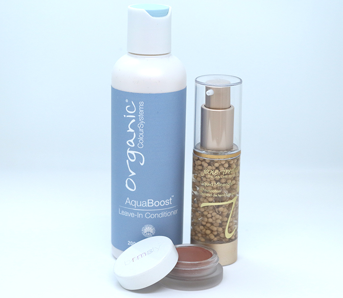 Organic Colour Systems' Aqua Boost Leave-in Conditioner, Jane Iredale Liquid Minerals in Golden Glow, RMS Lip2Cheek in Spell