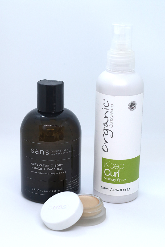 Sans [Ceuticals] Activator 7; Organic Colour Systems' Keep Curl Memory Gel; RMS Magic Luminizer